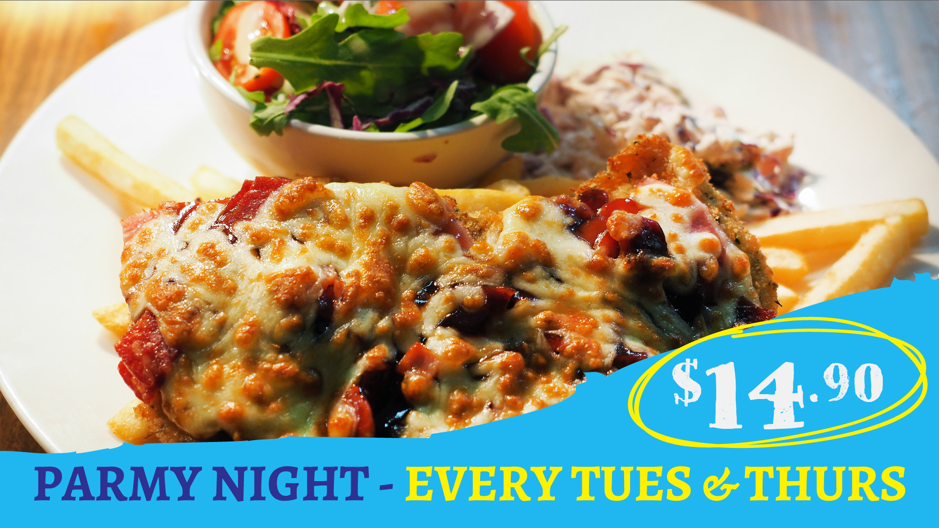 Tues & Thurs Parmy Night at Gowrie Road Hotel