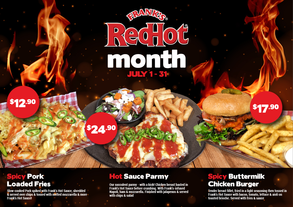 July Promotion Frank's RedHot Food Month at Gowrie Road Hotel